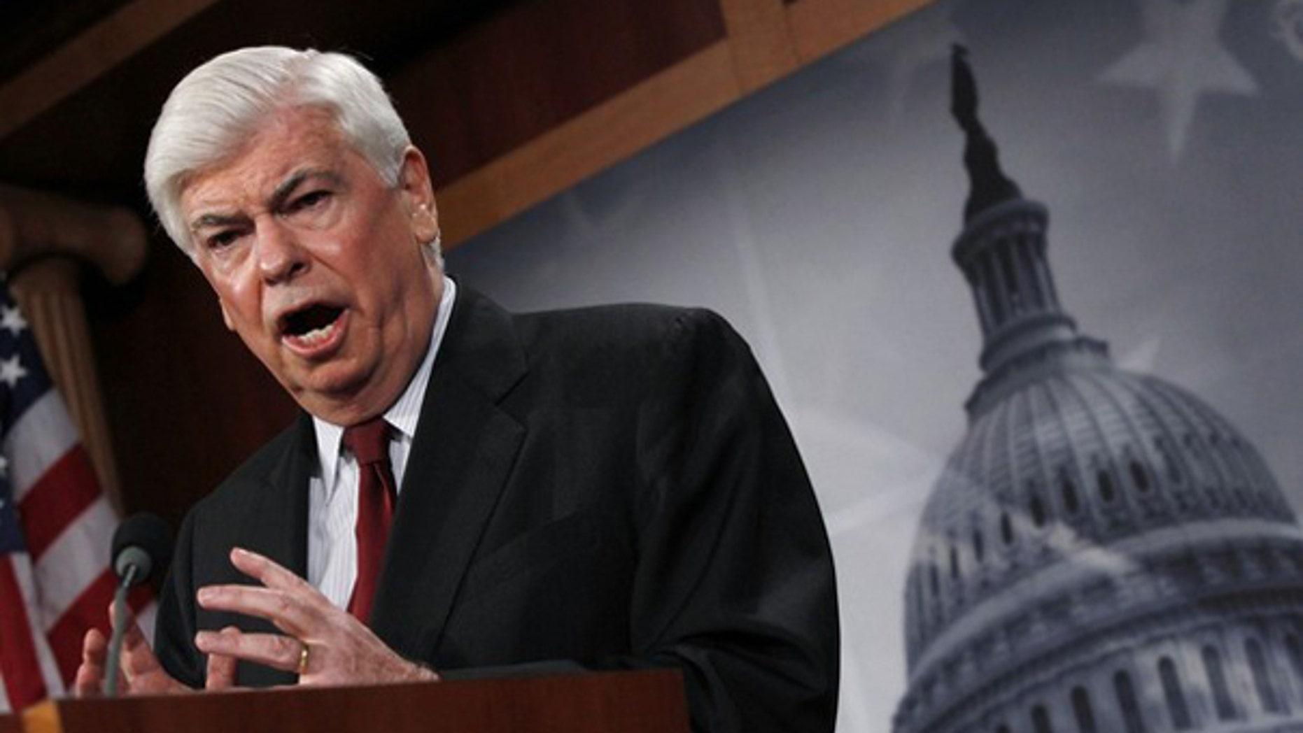 Sen. Chris Dodd unveils his financial reform bill on Capitol Hill March 15. (Reuters Photo)
