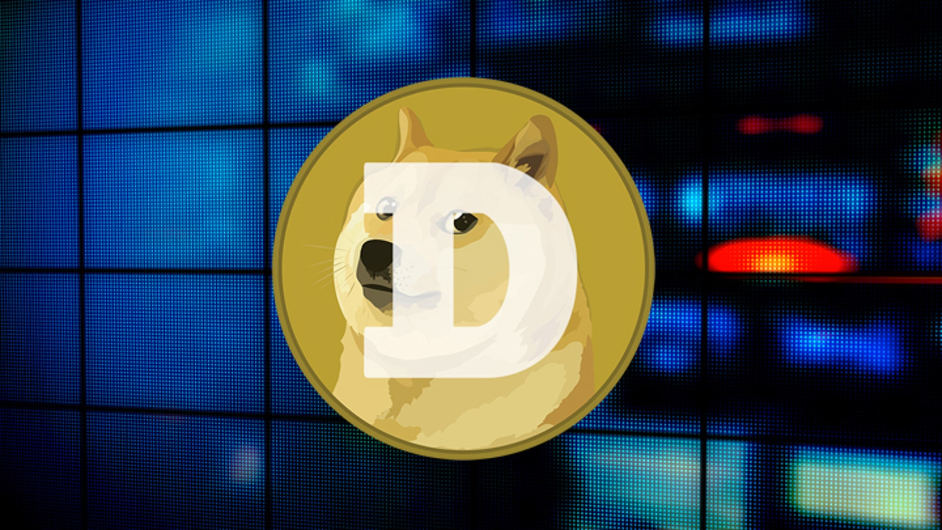 """The logo for virtual currency """"dogecoin"""" features the lovely mutt on a backdrop of gold."""