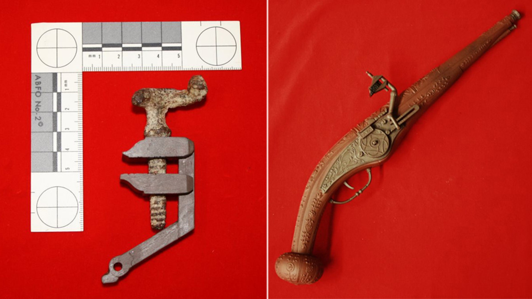 The dog screw in a recreated wheellock arm and a model wheellock pistol (Courtesy of the Museums of Western Colorado)