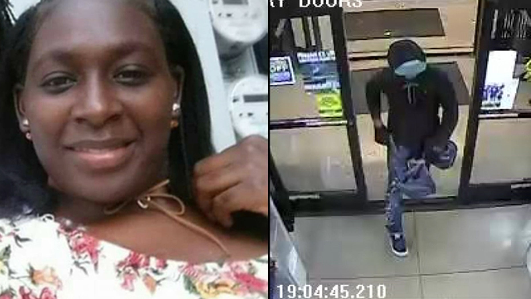 The suspect in the murder of 27-year-old Gabrielle Simmons was captured on surveillance video.
