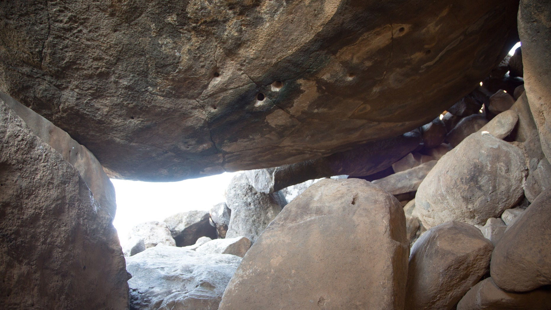 The view from inside the dolmen. (Photographic credit: Shmuel Magal, courtesy of the Israel Antiquities Authority)