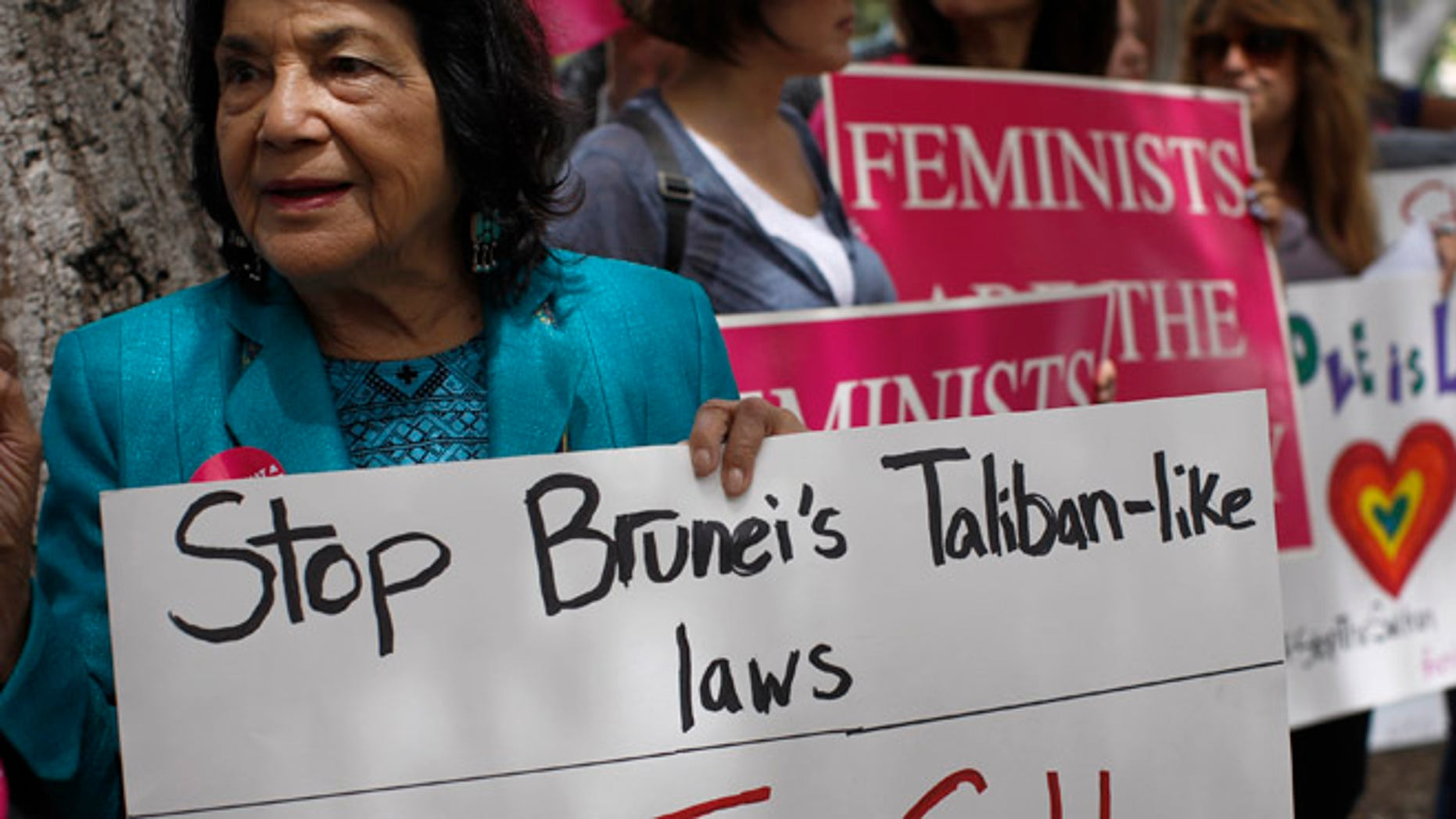 United Farm Workers co-founder Dolores Huerta during a rally on May 5, 2014 in Beverly Hills, California.