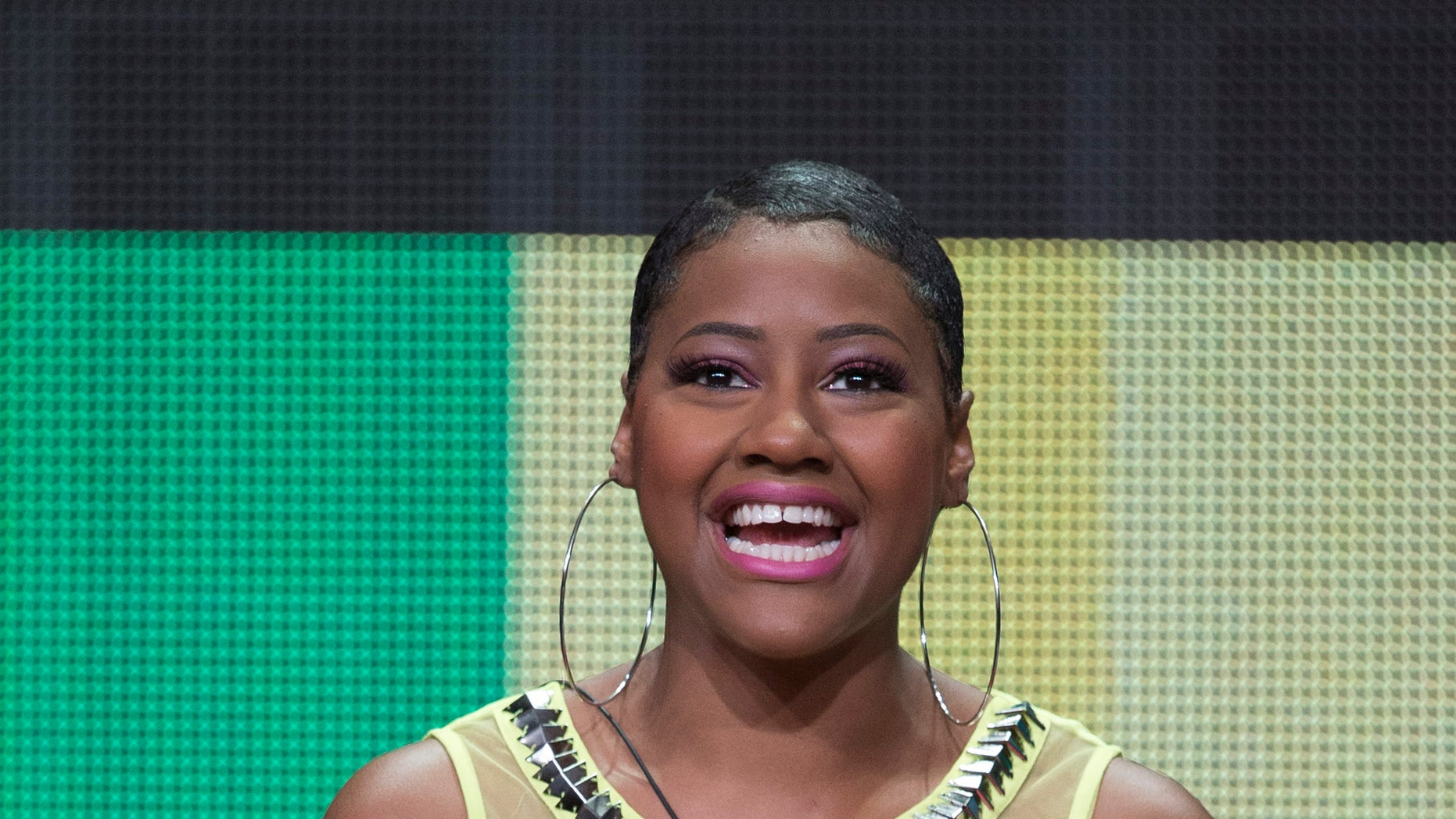 "July 11, 2014. Dominique Sullivan speaks at a panel for the MTV television series ""Virgin Territory"" during the Television Critics Association Cable Summer Press Tour in Beverly Hills, California."