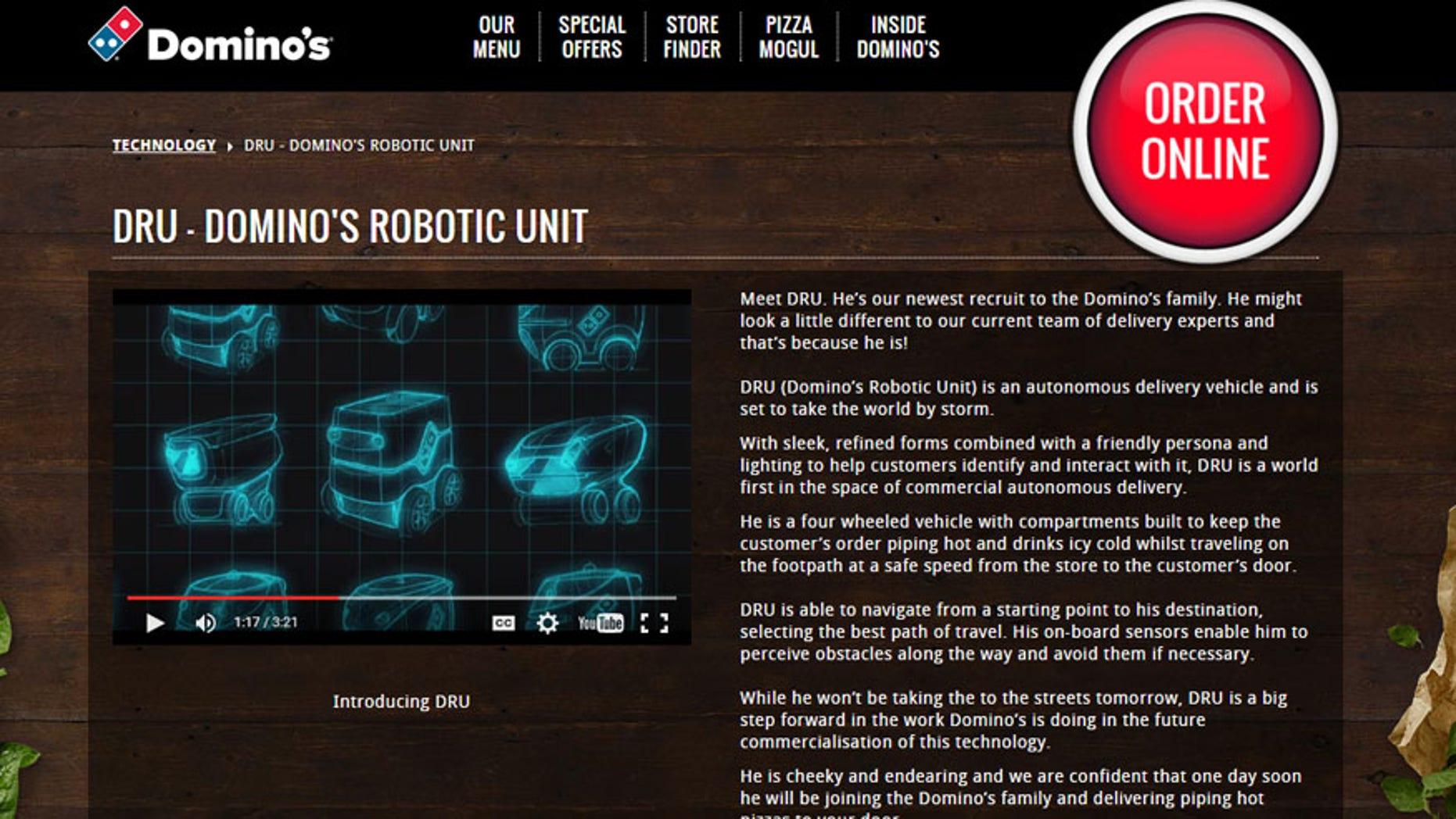 Screenshot from www.dominos.com.au/inside-dominos/technology/dru