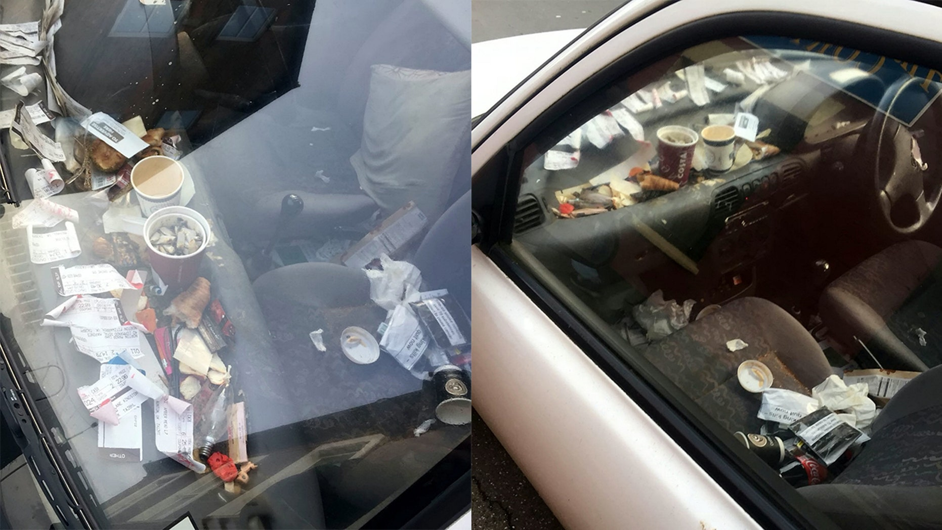 A Domino's delivery driver was suspended after photos of his messy car were sent to the pizza chain.