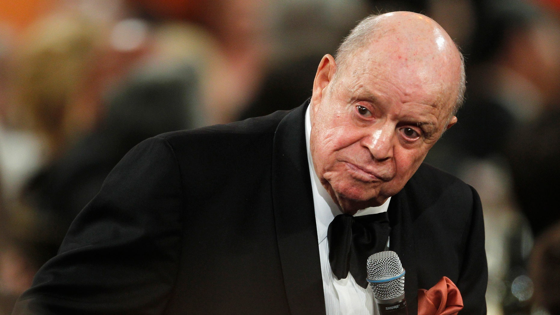 June 7, 2012. Comedian Don Rickles speaks in tribute at the TV Land cable channel taping of the AFI Life Achievement Award honoring actress Shirley MacLaine in Los Angeles.