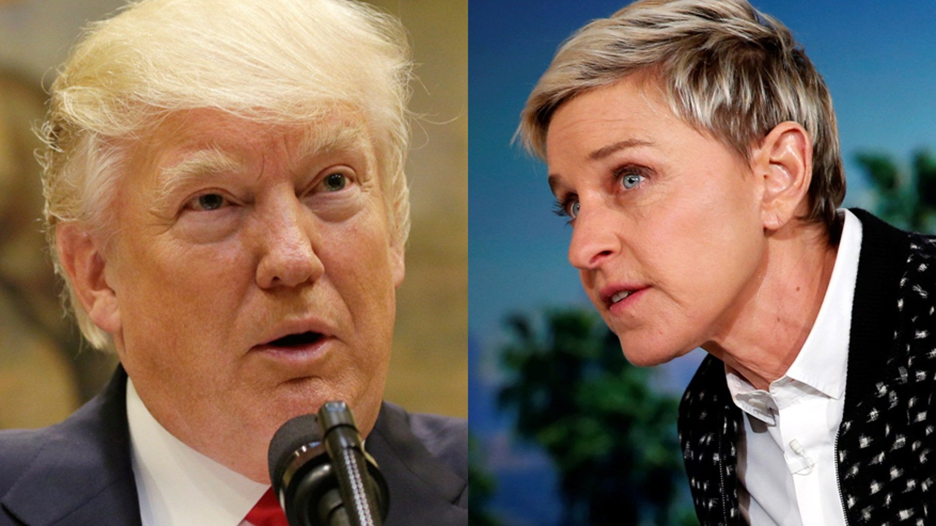 President Donald Trum (left) and talk show host Ellen Degeneres.