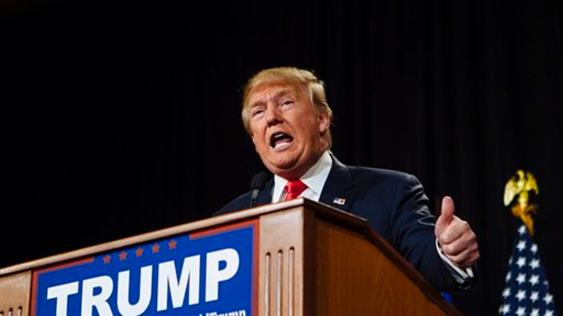 Fil e photo - Republican Presidential candidate Donald Trump speaks at a rally at the South Point Hotel, Casino, and Spa in Las Vegas on Thursday, Jan. 21, 2016. (Mikayla Whitmore/Las Vegas Sun via AP)