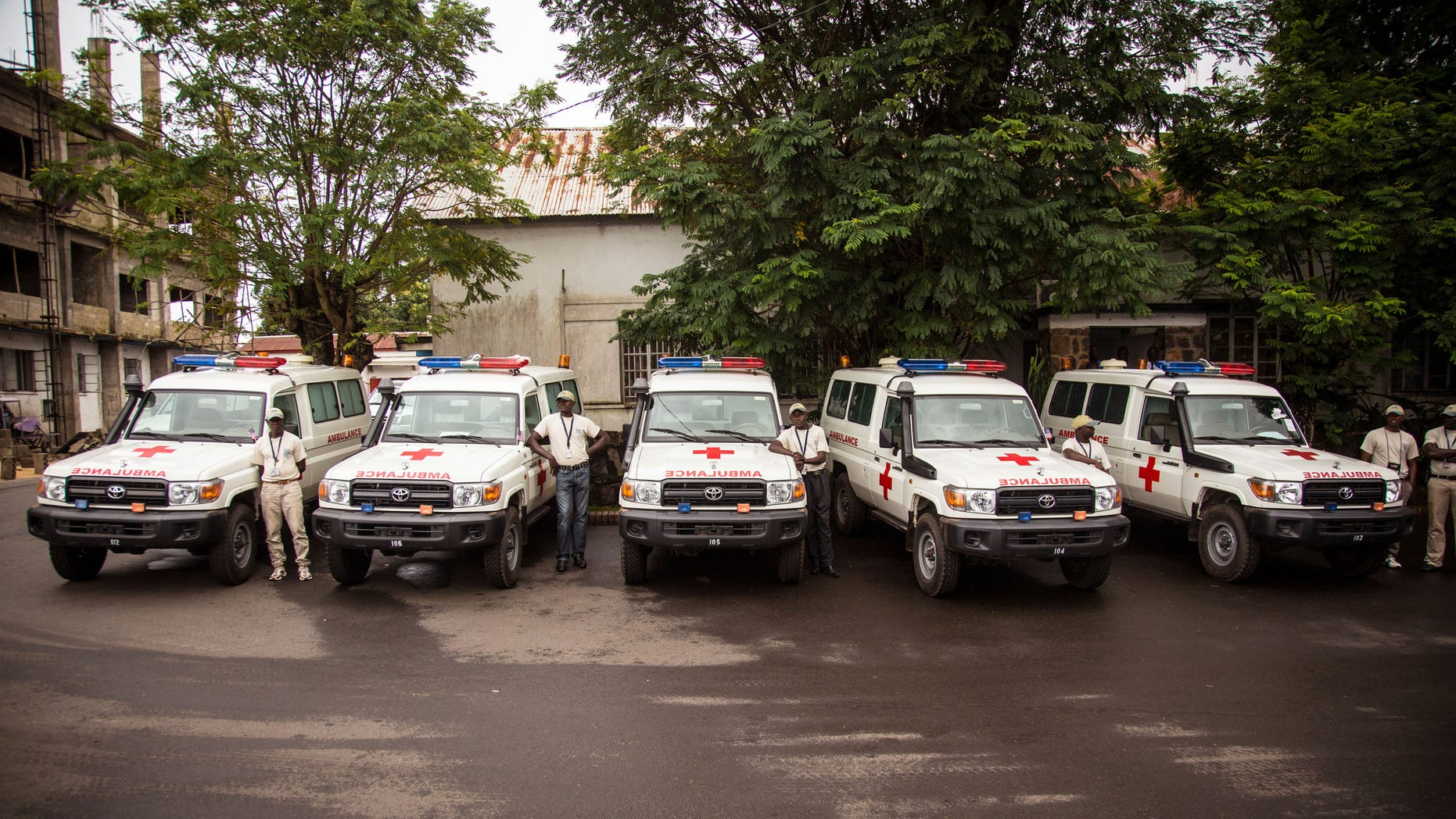 Sept. 10, 2014: Five ambulances that were donated by the U.S. to help combat the Ebola virus are lined up following a ceremony attended by Sierra Leone's president Ernest Bai Koroma, in Freetown, Sierra Leone.