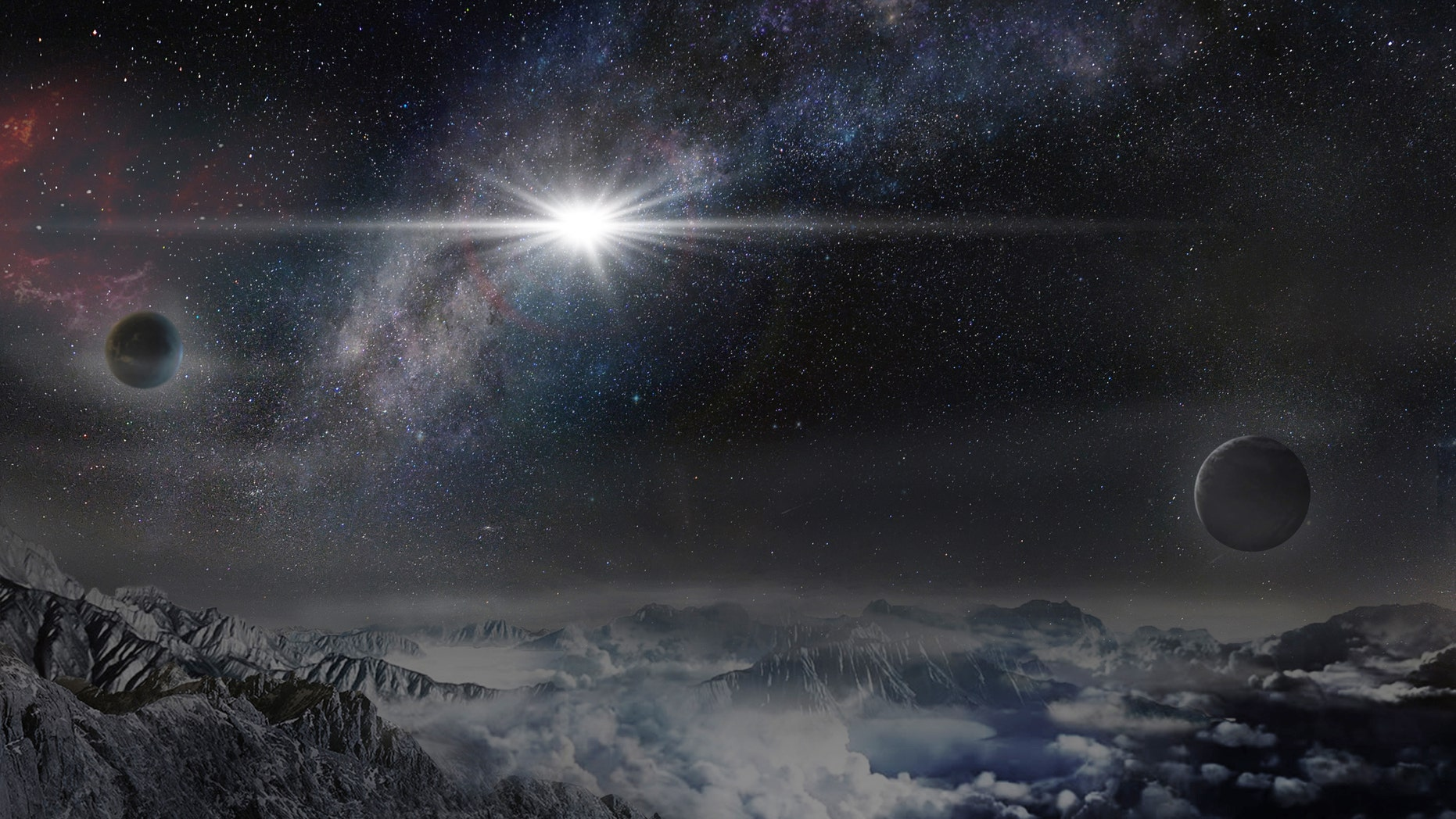 An artist's impression of the record-breakingly powerful, superluminous supernova ASASSN- 15lh as it would appear from an exoplanet located about 10,000 light years away in the host galaxy of the supernova. (Beijing Planetarium / Jin Ma))