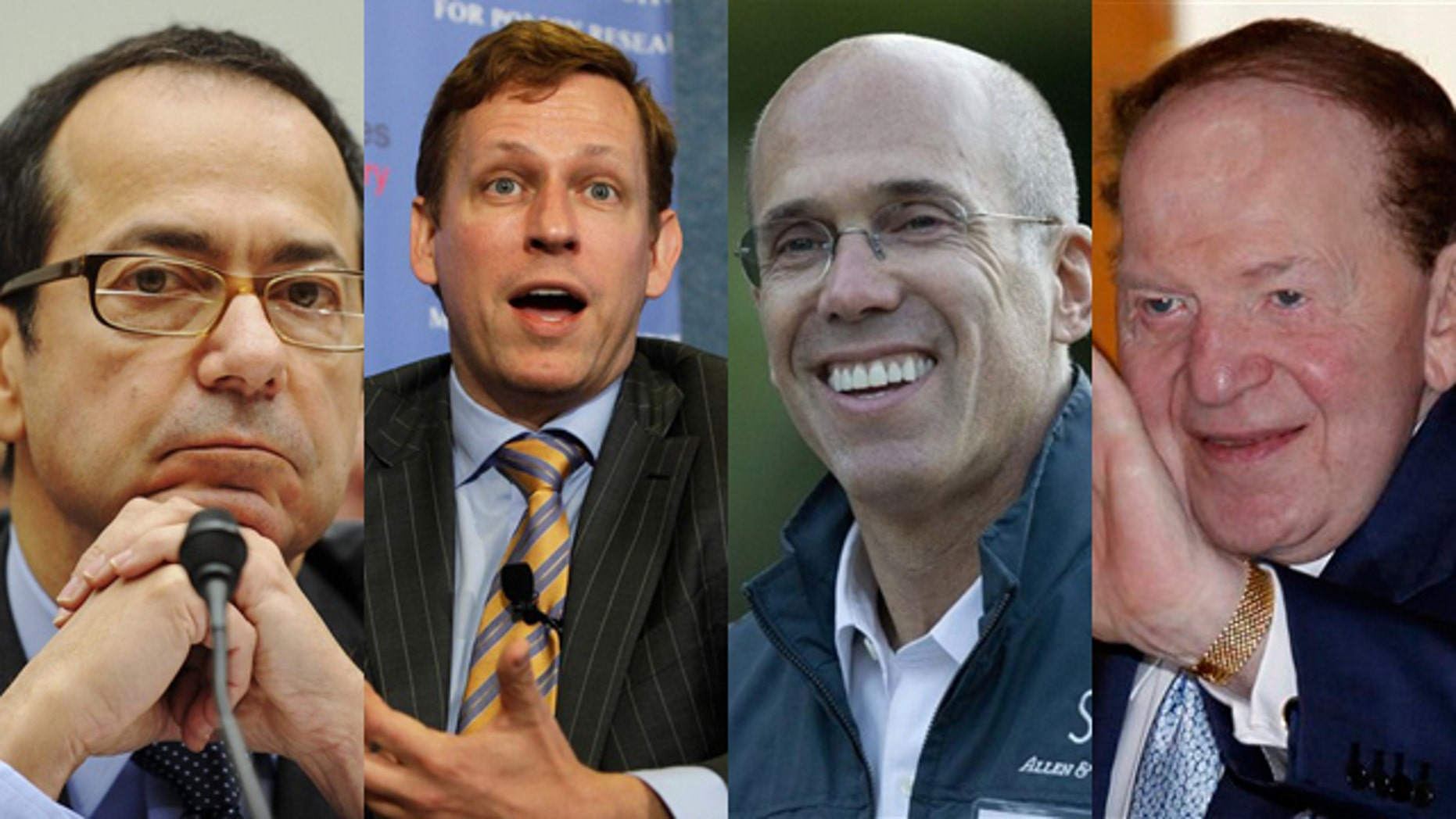 Shown here are supporters of 2012 candidate Super PACs. From left to right are: hedge fund investor John Paulson, PayPal co-founder Peter Thiel, DreamWorks executive Jeffrey Katzenberg, and casino magnate Sheldon Adelson.