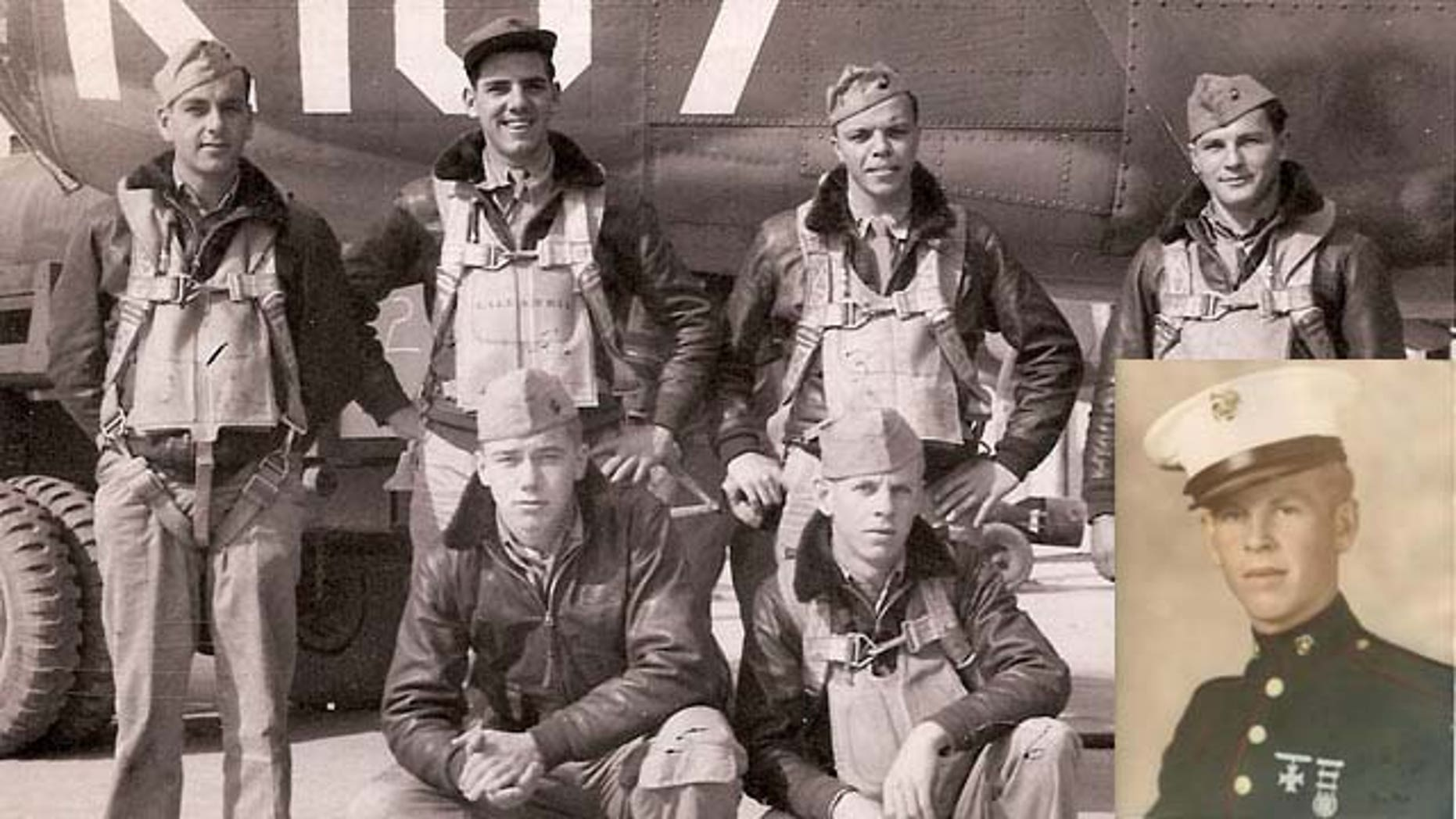 John Donovan, seen on right on the bottom row of the group picture, went missing in action after a flight mission in the south Pacific. His remains will be laid to rest on Friday.