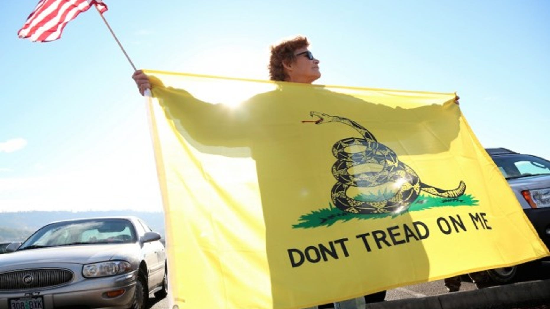 FILE -- Oct. 9, 2015: Leslie Corp holds up an American flag and the Gadsden flag in Roseburg, Ore.