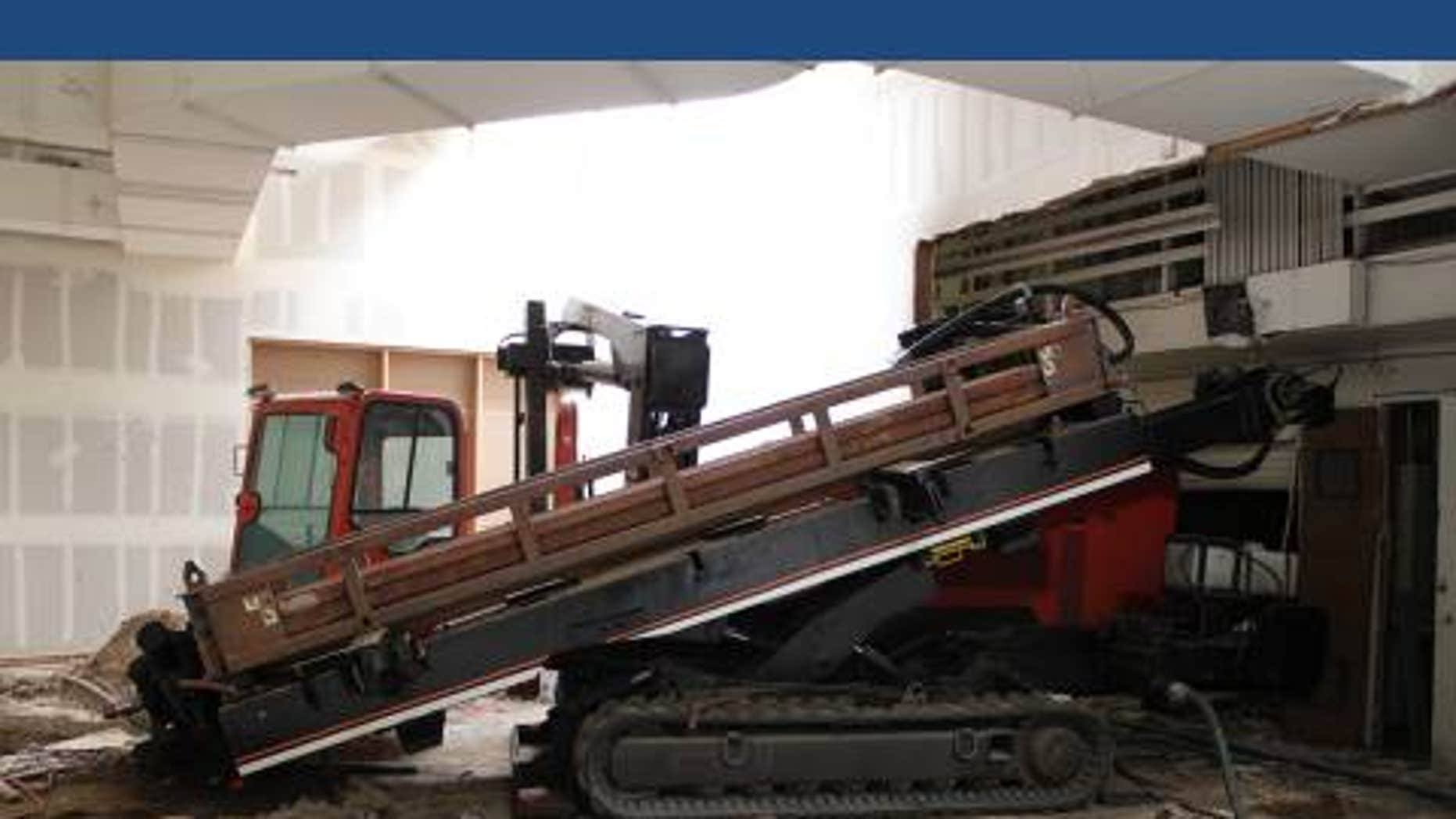A horizontal-drilling machine was used to start construction of a drug-smuggling tunnel from a Calexico warehouse across the U.S.-Mexico border.