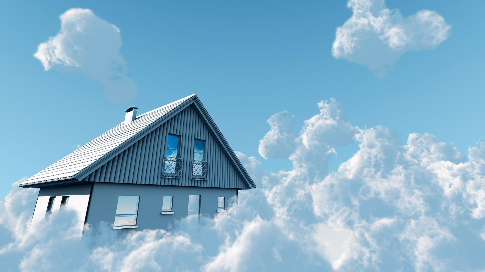 dream home in clouds