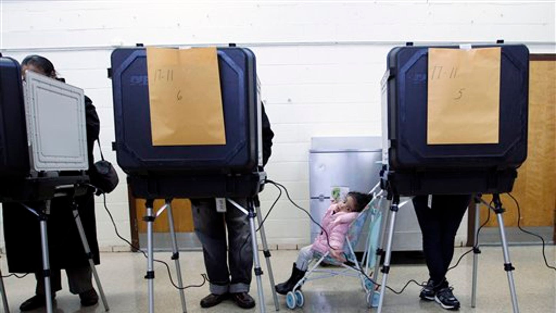 Two-year-old Sharlene Blount waits for her mother Lidia to vote at Ridgecrest Elementary, in Hyattsville, Md. on Tuesday, Nov. 6, 2012. (AP Photo/Jose Luis Magana)