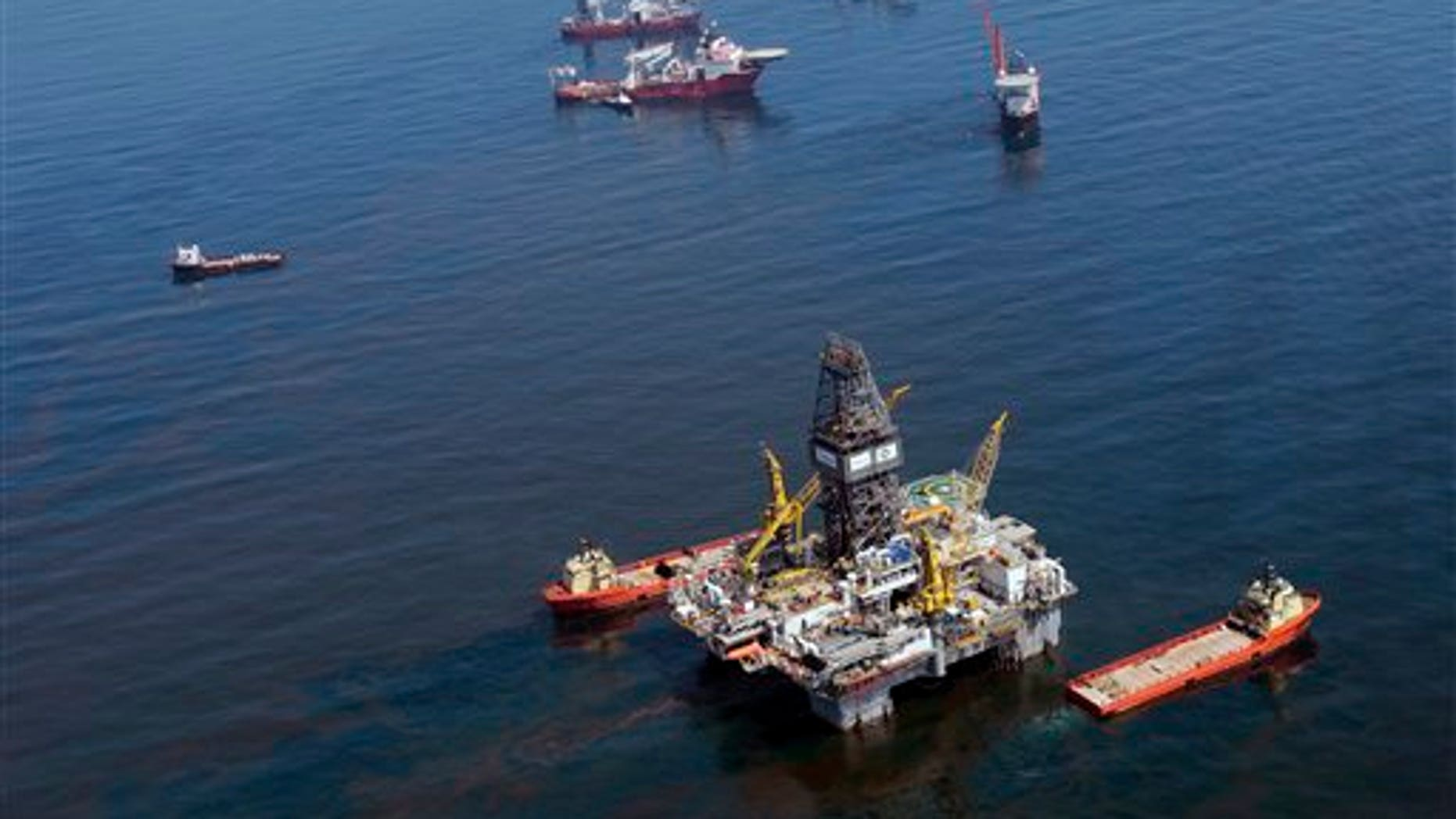 Thursday: Vessels surround a drilling rig at the site of the Deepwater Horizon in the Gulf of Mexico. (AP Photo)