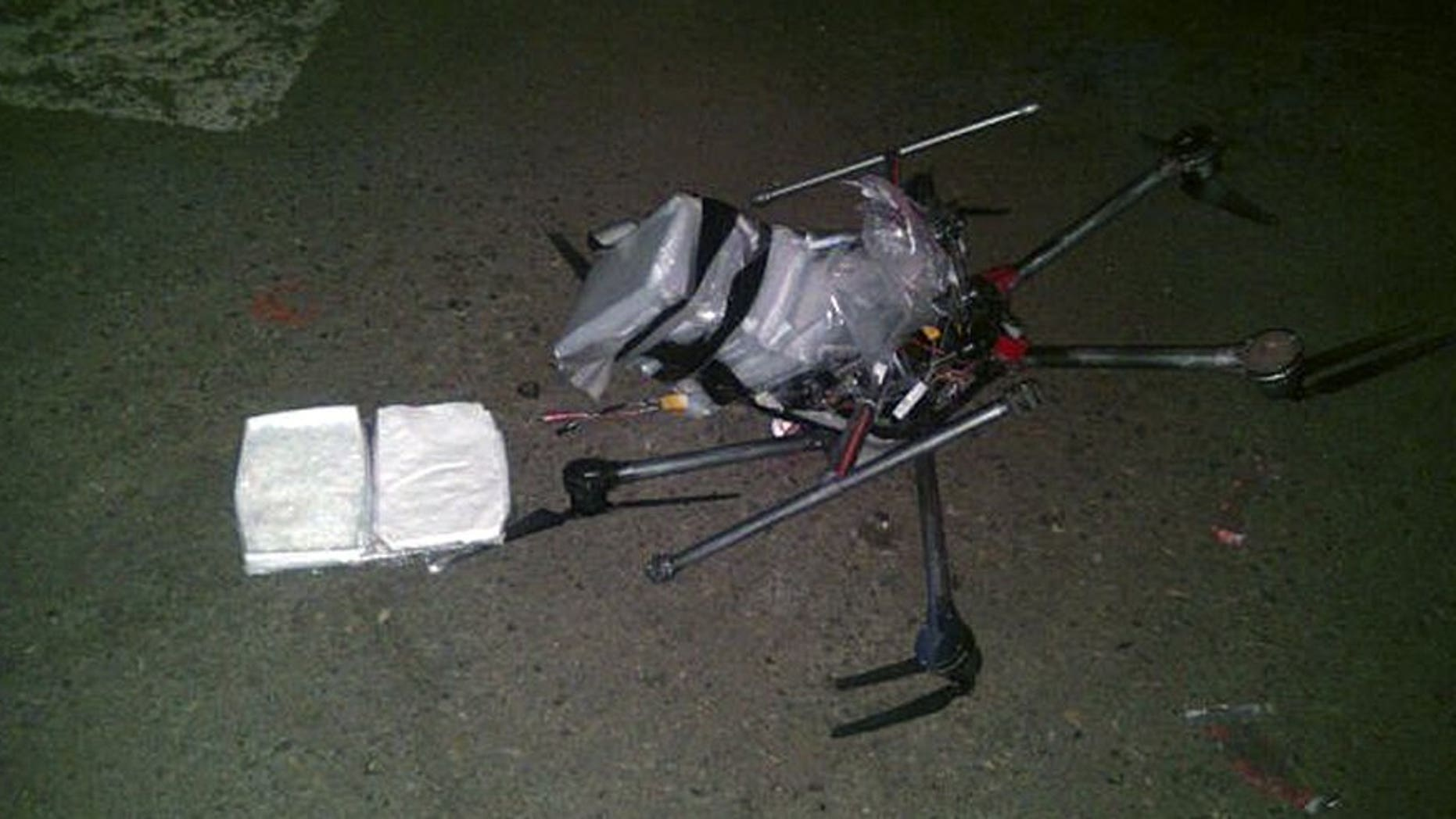 A drone downed in Tijuana, Mexico, in January 2015 carrying methamphetamine. (Photo: Associated Press)