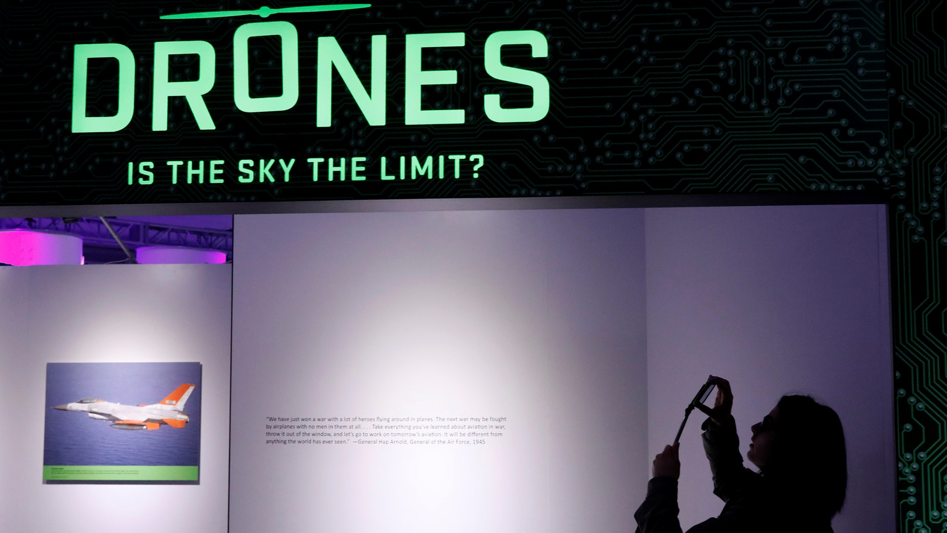 File photo: A guest photographs the entrance to the 'Drones: Is the Sky the Limit?' exhibition at the Intrepid Sea, Air & Space Museum in New York City, U.S., May 9, 2017. (REUTERS/Brendan McDermid)
