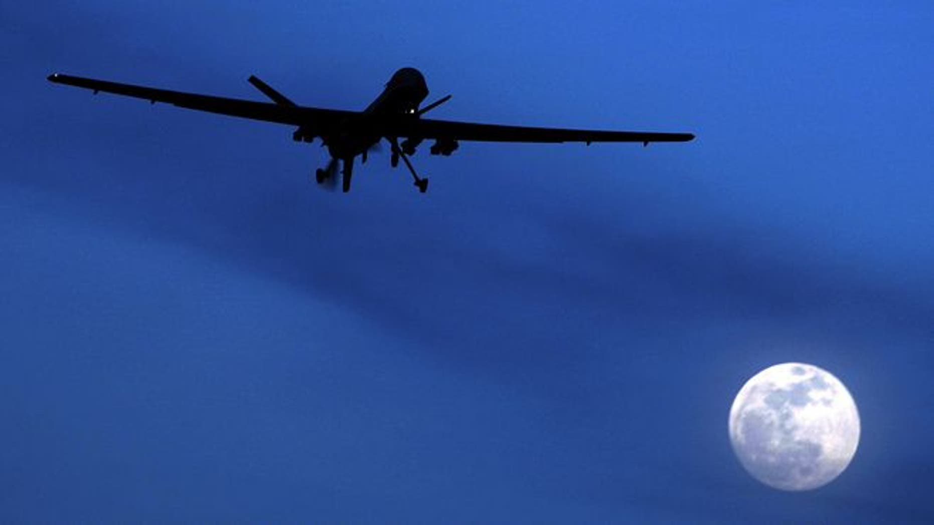 Jan. 31, 2010: An unmanned U.S. Predator drone flies over Kandahar Air Field, southern Afghanistan.