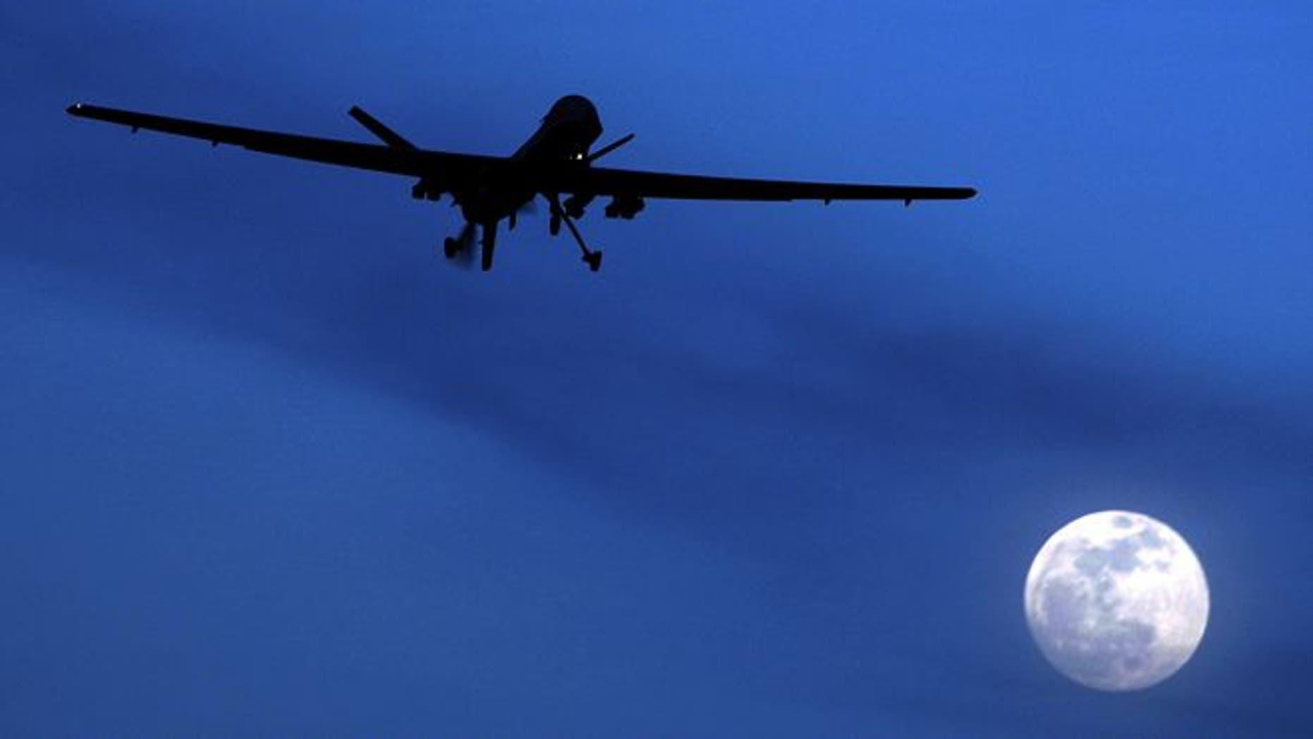 Jan. 31, 2010: An unmanned U.S. Predator drone flies over Kandahar Air Field, southern Afghanistan.