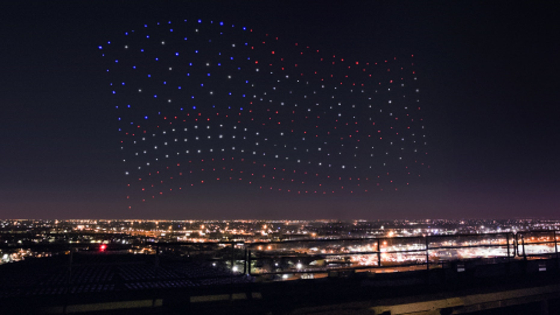 An Intel Shooting Star drones fleet lights up the sky in an American Flag formation during the Pepsi Zero Sugar Super Bowl LI Halftime Show on Sunday, Feb. 5, 2017. (Credit: Intel Corporation)