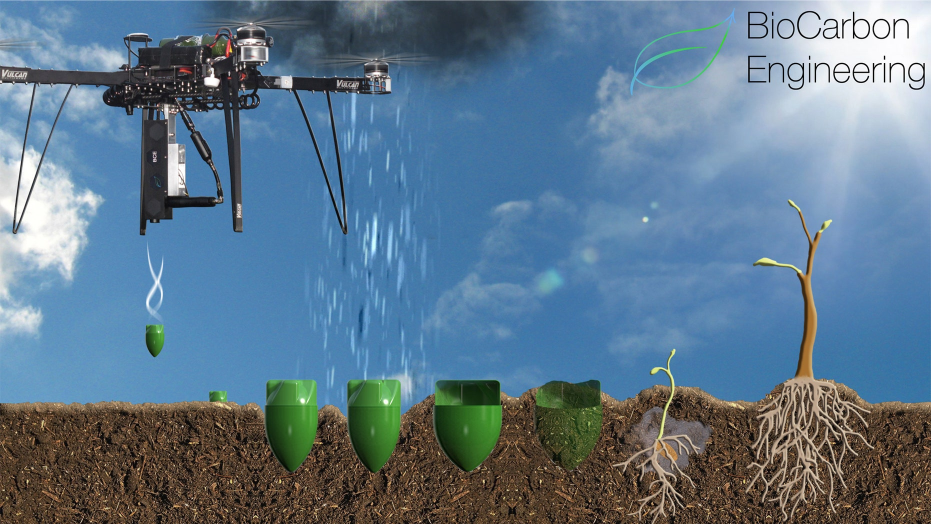 Artist's illustration of the drone planting technology (BioCarbon Engineering)