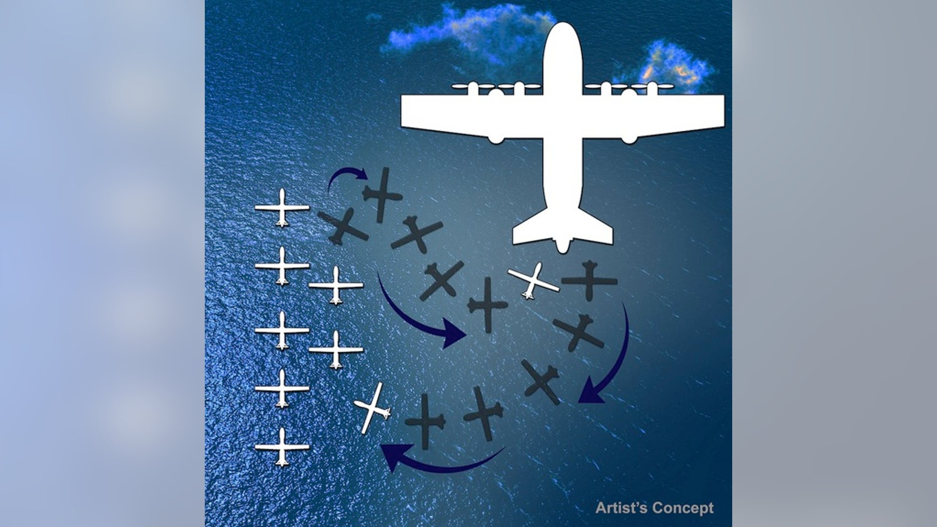 Artist's conception of drones being deployed from a transport aircraft.