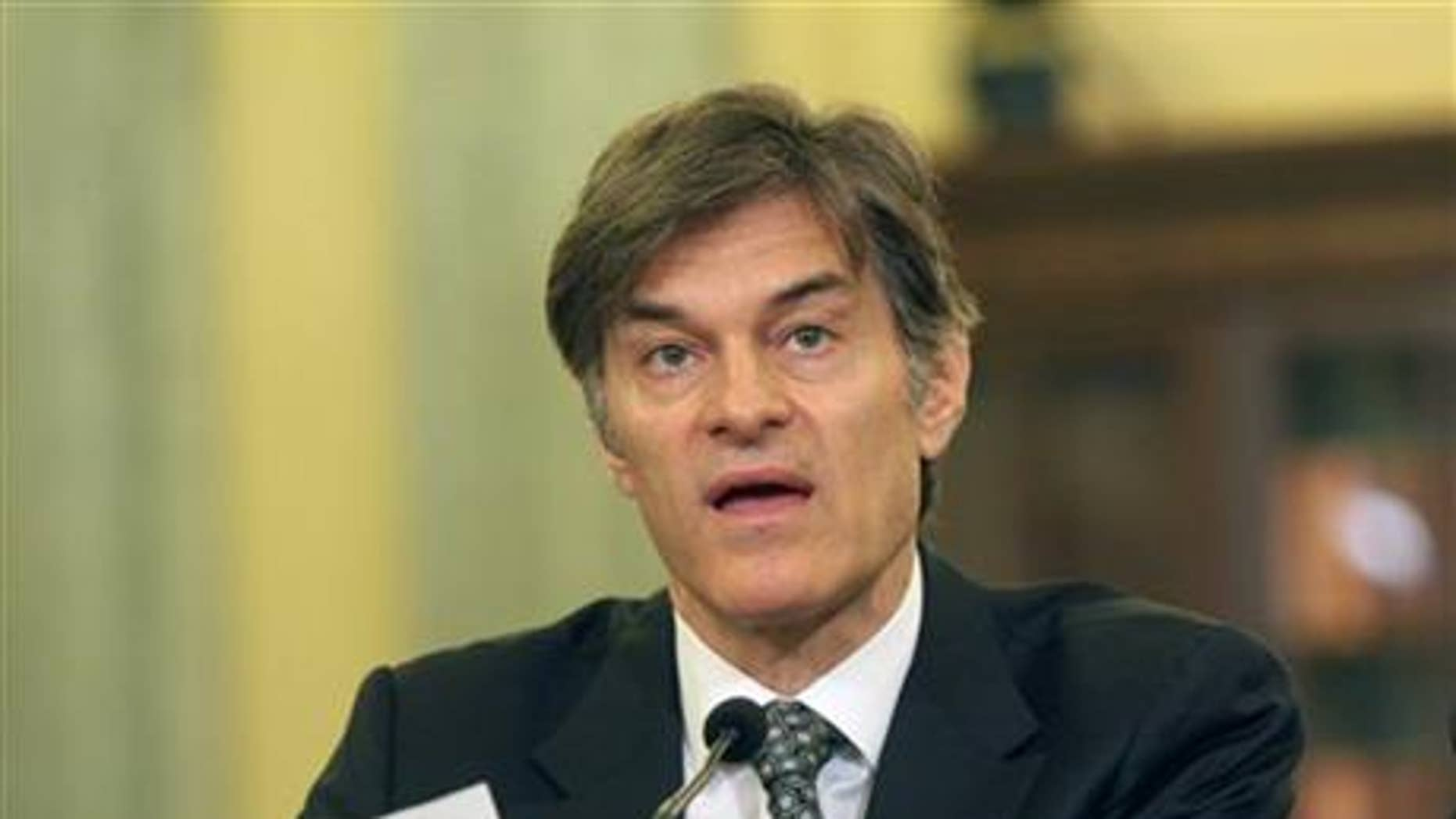 June 17, 2014: Dr. Mehmet C. Oz, chairman and Professor of Surgery, Columbia University College of Physicians and Surgeons, testifies on Capitol Hill in Washington.