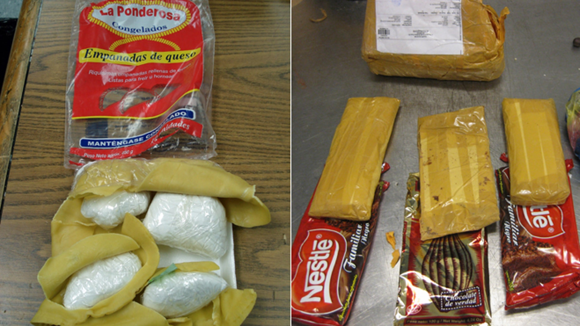 This undated photo provided by the Office of the Special Narcotics Prosecutor (SNP) for New York City shows cocaine disguised in empanadas, and heroin, in  yellow packages, that was disguised in packages of candy.