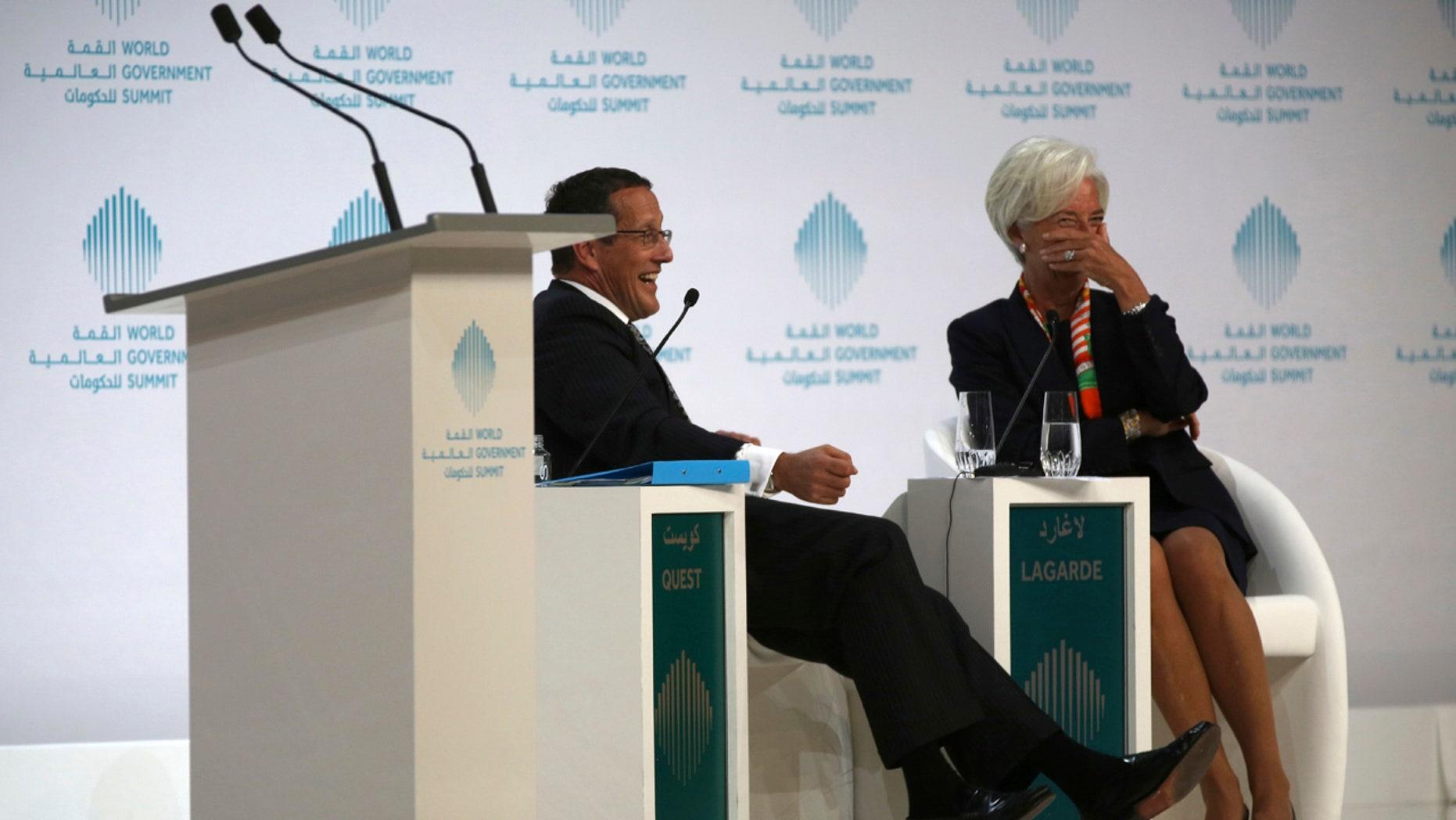 Christine Lagarde, managing director of the International Monetary Fund, reacts to a joke by Richard Quest of CNN in Dubai, United Arab Emirates, Sunday, Feb. 12, 2017.