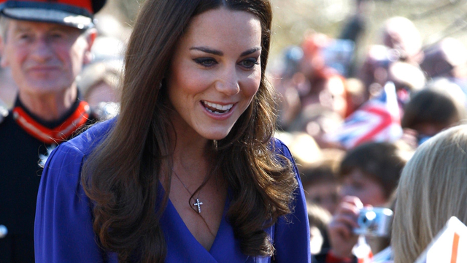 March 19, 2012: Britain's Duchess of Cambridge meets members of the public as she arrives at The Treehouse in Ipswich, England.
