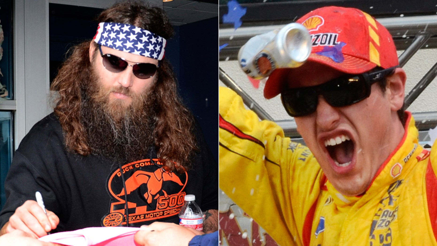 Duck Commander's Willie Robertson signs autographs at Texas Motor Speedway (L), Joey Logan celebrates his win in the Duck Commander 500 (R)
