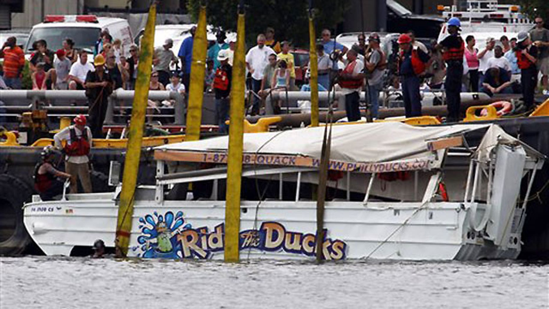 July 9: An amphibious craft is salvaged from the Delaware River in Philadelphia.