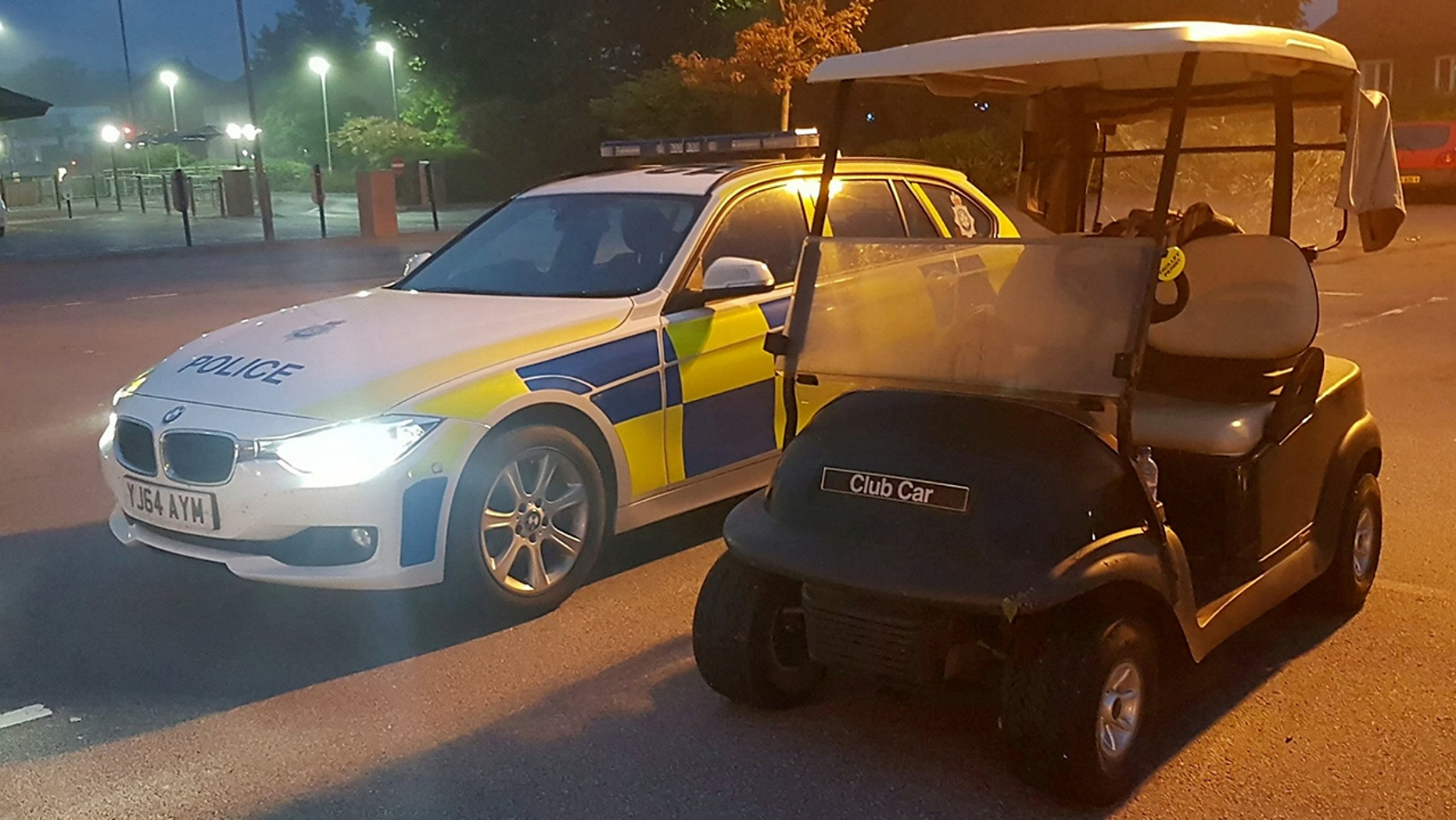 The stolen Golf Buggy. See Ross Parry story RPYBUGGY; Teenager due to appear at Northallerton Mags charged with drink driving after police stopped him in a golf buggy at a McDonald's drive-thru.