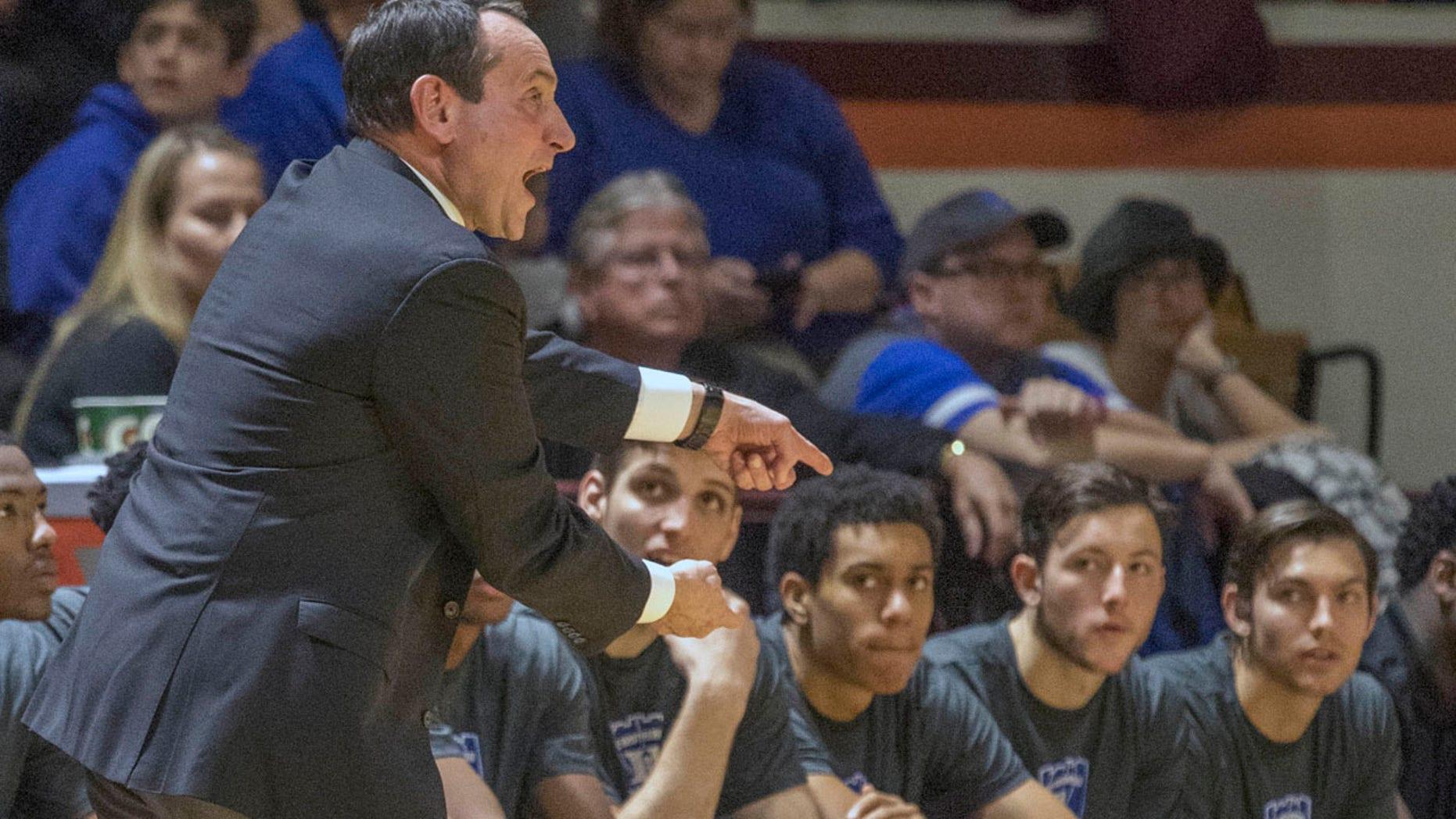Dec. 31, 2016: Duke head coach Mike Krzyzewski yells to his players during the first half of their game against Virginia Tech in Blacksburg, Va. Virginia Tech won 89-75