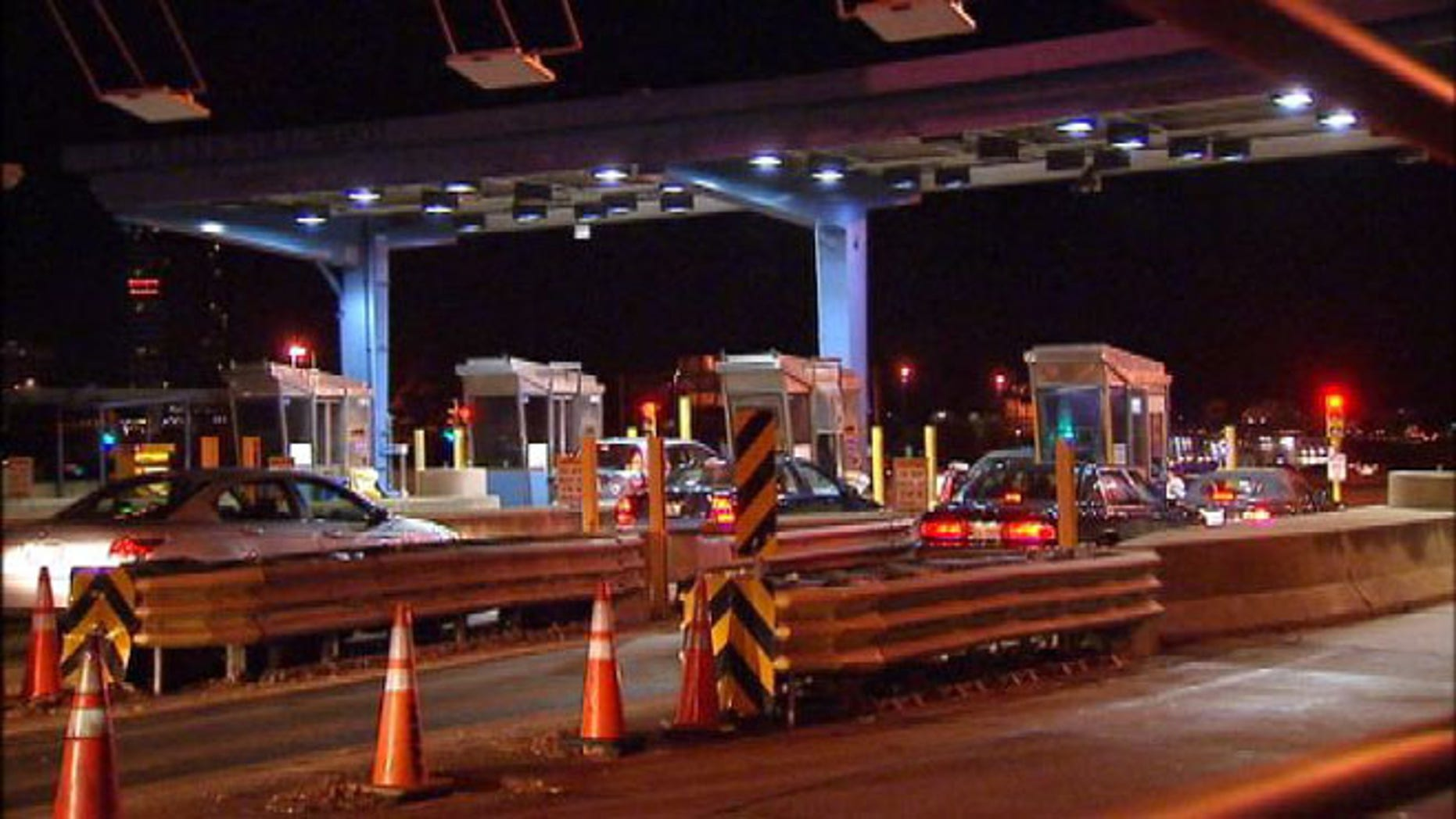 A Dulles Toll Road toll booth station.