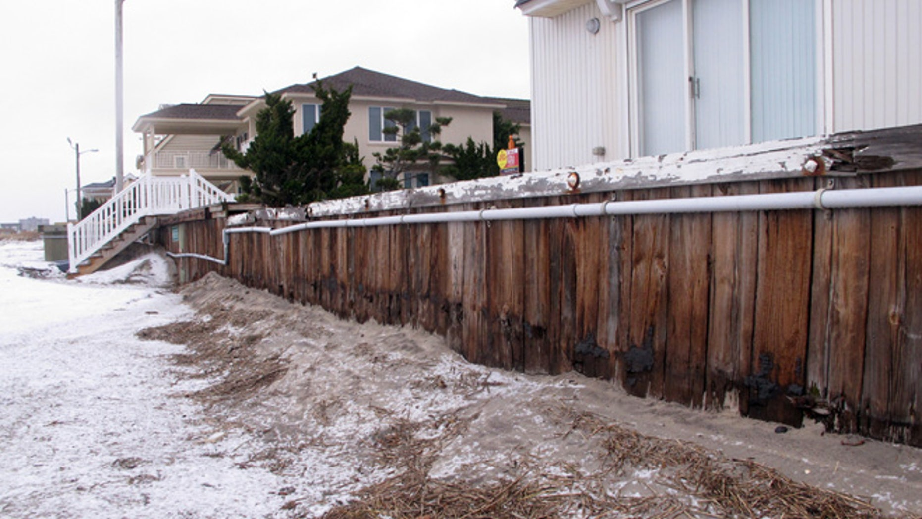 Jan. 14, 2015: This photo shows oceanfront homes in Margate N.J. behind a protective bulkhead that the town considers sufficient to protect against coastal storms. (AP)
