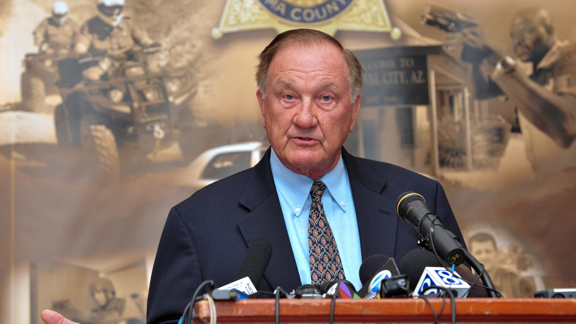 Sunday: Pima County Sheriff Clarence Dupnik speaks at a news conference in Tucson, Ariz., a day after a shooting injured or killed 20 people, including a federal judge. Rep. Gabrielle Giffords survived the shooting and was in critical condition following brain surgery.