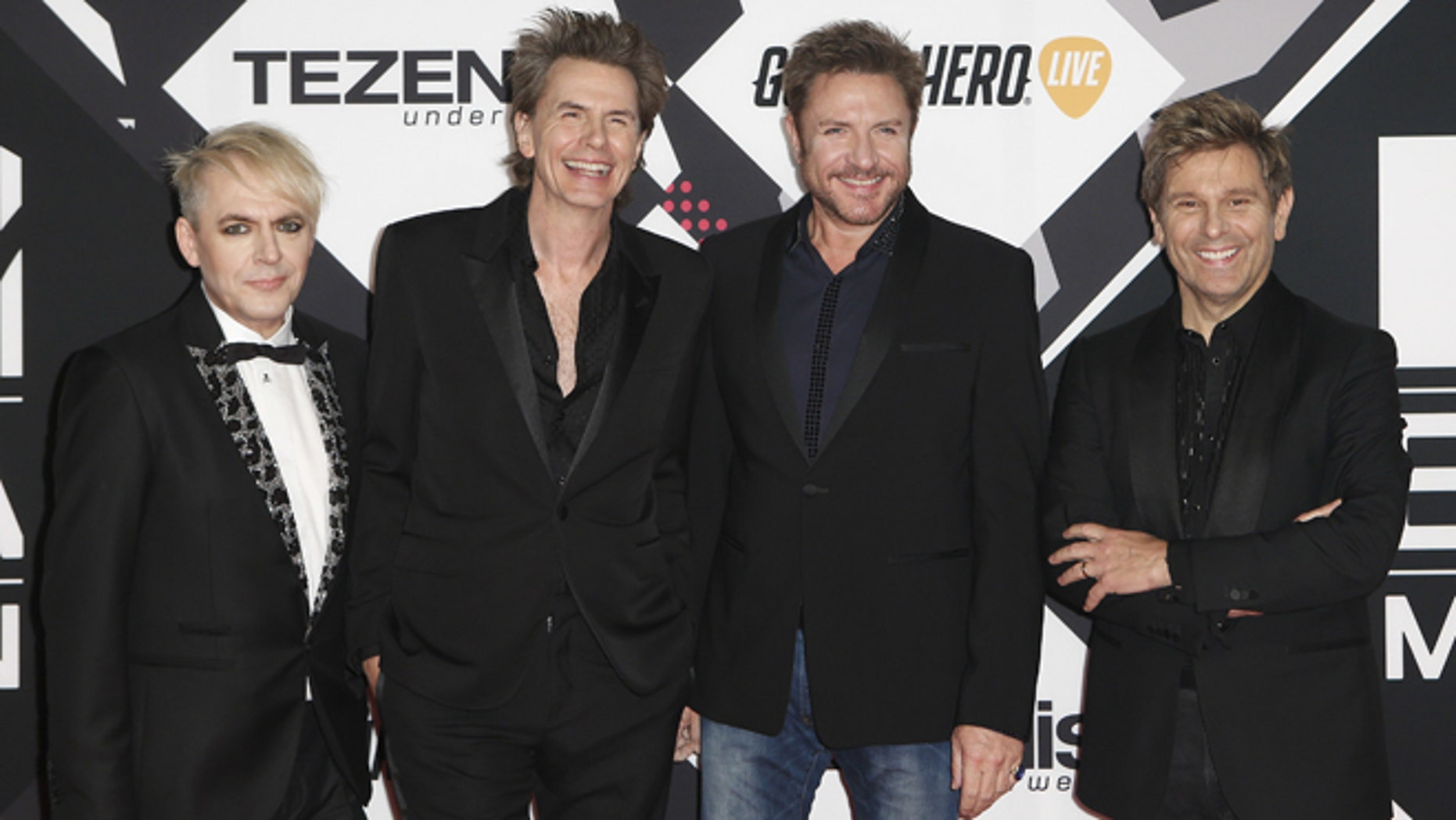 October 25, 2015. Duran Duran pose on the red carpet during the MTV EMA awards at the Assago forum in Milan, Italy.
