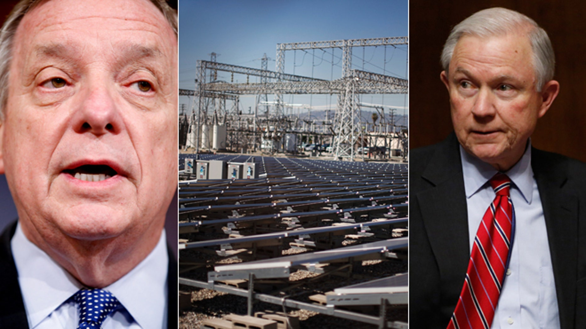 Shown here are Sen. Dick Durbin, left; Sen. Jeff Sessions, right; and solar panels near a Southern California Edison electricity station in Carson, Calif., center.