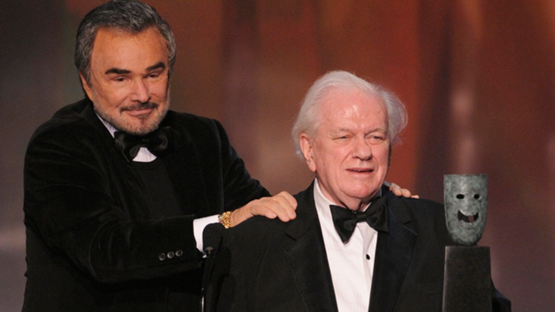 Jan. 27, 2008: Actor Charles Durning accepts the life achievement award from presenter Burt Reynolds, left, at the 14th Annual Screen Actors Guild Awards in Los Angeles.