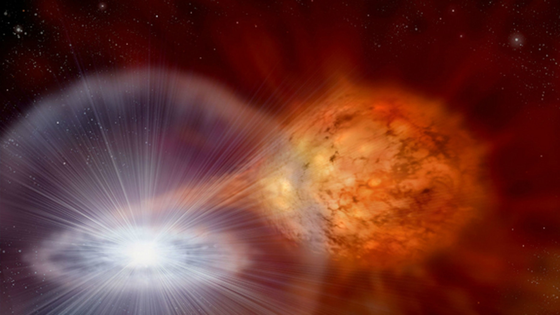 An artist's rendering of an exploding star. Billions of years ago, dust from a stellar explosion like this may have made its way to Earth.