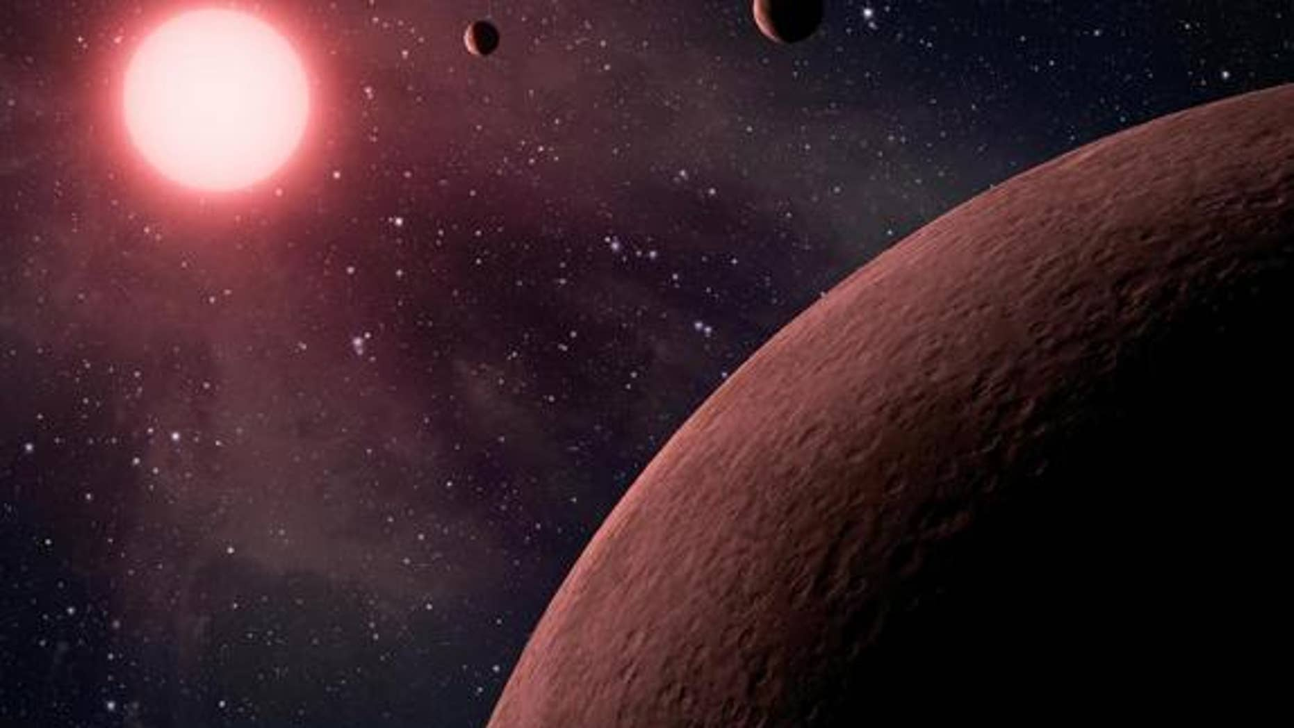 "This artist's rendering shows a dwarf star and its planets. Some planets around these kinds of stars might seem habitable, but they're really ""mirage planets."""