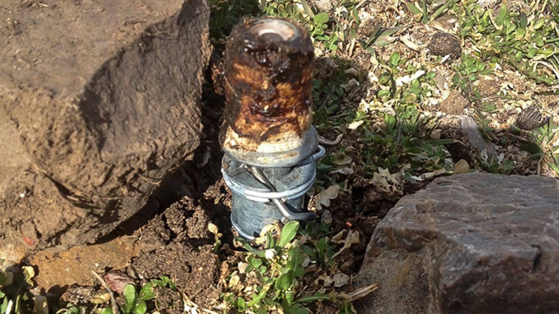 MARCH FILE: An M-44 cyanide device in Pocatello, Idaho It's spring-activated and shoots poison that is meant to kill predators.