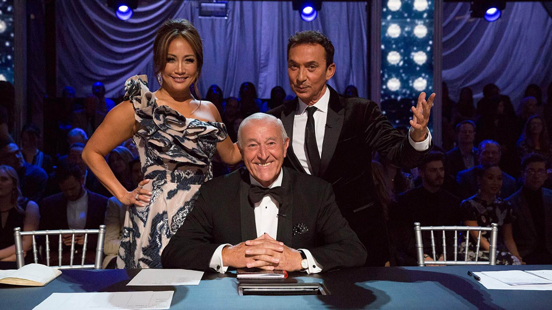"""DANCING WITH THE STARS: ATHLETES - """"Episode 2604"""" - After three weeks of stunning competitive dancing, the final three couples advance to the finals of """"Dancing with the Stars: Athletes,"""" live on MONDAY, MAY 21 (8:00-9:00 p.m. EDT), on The ABC Television Network. (ABC/Kelsey McNeal)CARRIE ANN INABA, LEN GOODMAN, BRUNO TONIOLI"""