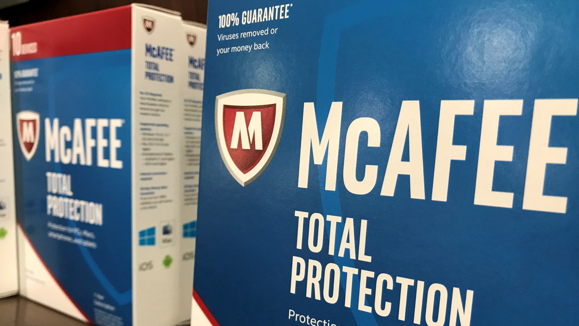 File photo: McAfee computer security software is shown for sale at a computer store in San Marcos, California, U.S., May 15, 2017. (REUTERS/Mike Blake)