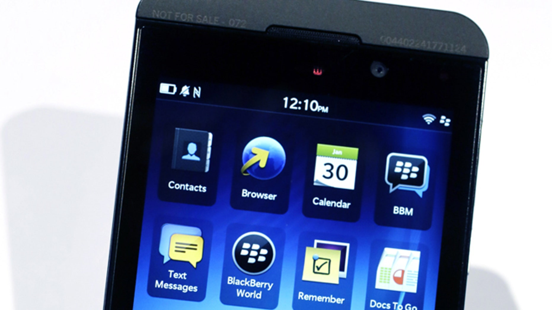 The new touchscreen BlackBerry Z10 smartphone, which the company hoped would mark a turnaround in its battle against the iPhone and Google's Android.