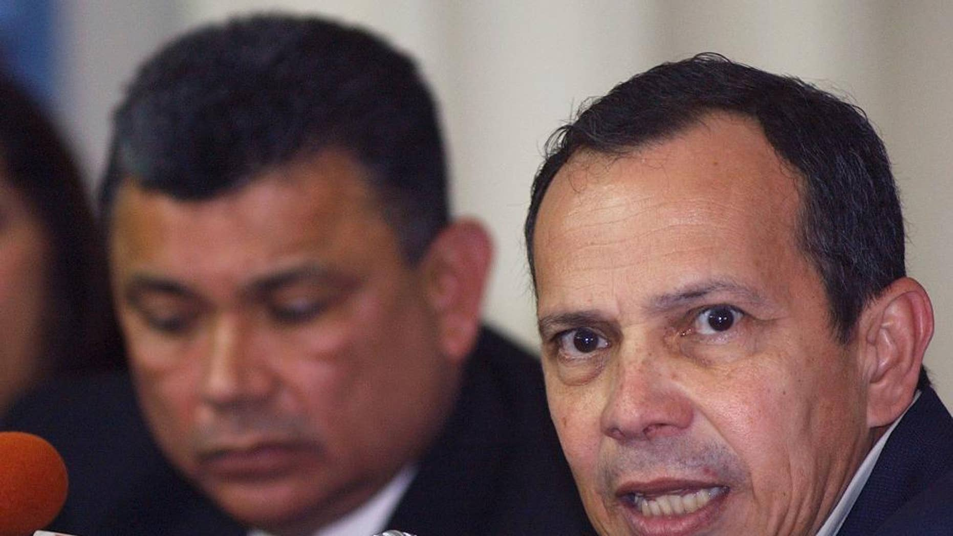 FILE - In this Jan. 9, 2005 file photo, National Assembly President Rene Nunez talks during a press conference in Managua, Nicaragua. Nicaragua's congress has decided that Nunez, who died on Sept. 10, 2016, will remain as the body's titular head through the end of the legislative session in January. The unprecedented move is intended to honor Nunez, who was president of the legislative assembly for nine years until his death, at age 69. The assembly's vice president will take on his administrative responsibilities. (AP Photo/Esteban Felix)