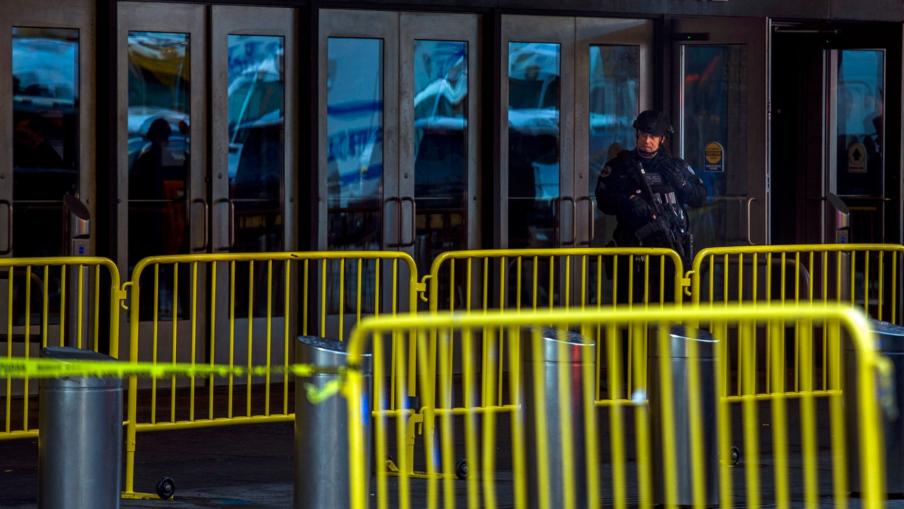 A police officer stands guard outside the Port Authority Bus Terminal in New York City, Dec. 11, 2017. (Associated Press)